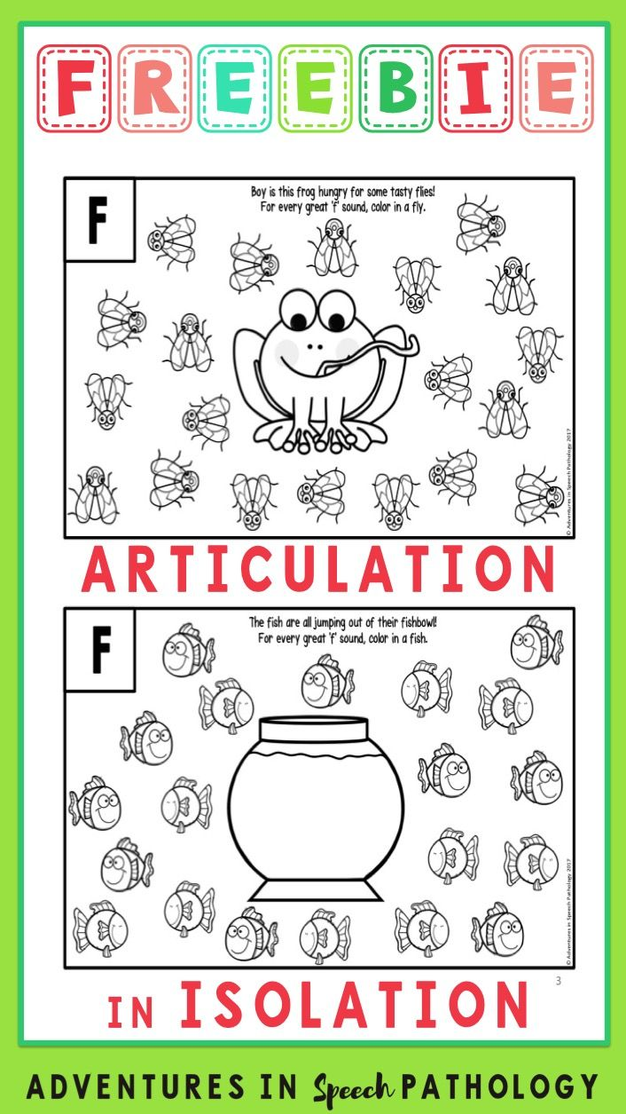 Articulation In Isolation Worksheets Freebie Sample Speech
