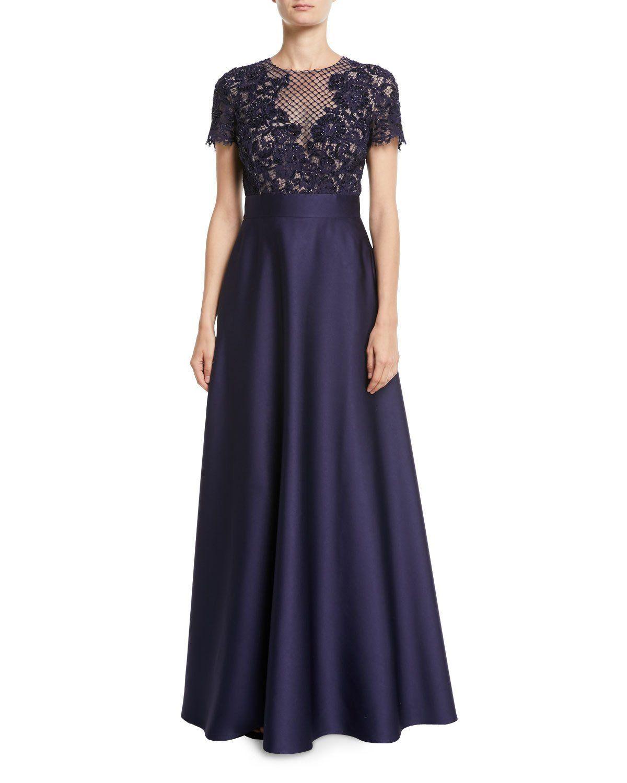 Evening Satin Escada Bodice Full GownVestidos Skirt Floral Lace lFK1cTu3J