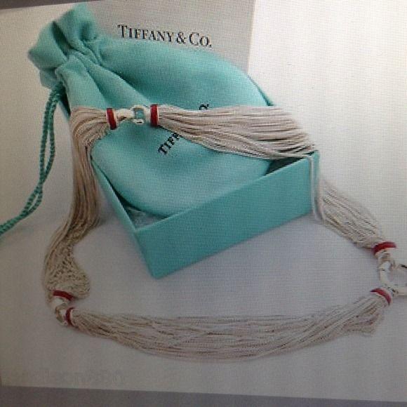 583ea598ff6 Authentic Tiffany Silver Necklace Tiffany   Co. silver red enamel multi  strand necklace -pendant