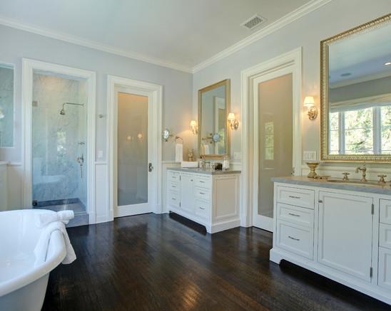Best Cool Grey Walls White Cabinets Dark Brown Floor Brown 640 x 480