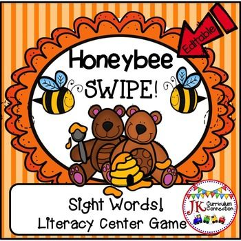 Sight Word Game - Honeybee SWIPE Game {CCSS} This fast-paced game will have your students practicing Sight Words again and again. There are also EDITABLE cards! They can be customized to fit ANY skill: Sight words, math facts etc.  Complete directions are included to make this a successful learning experience for your students.Words used:he   was   that   she    on    they    but    atwith   all   there   out   be   have   am   dodid   what   so   get   like   this   will   yeswent   are…