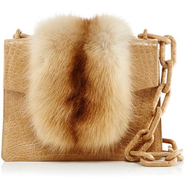 Nancy Gonzalez Nude Mink Fur Mini Flap Bag (13.280 RON) ❤ liked on Polyvore featuring bags, handbags, clutches, purses, hand bags, nude handbags, brown purse, croco handbags and crocodile handbags