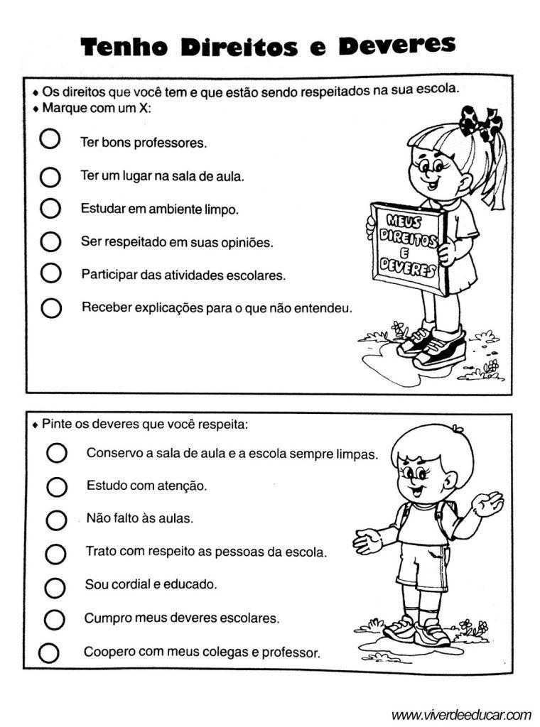 Atividades Sobre Direitos E Deveres Das Criancas Em Sala De Aula