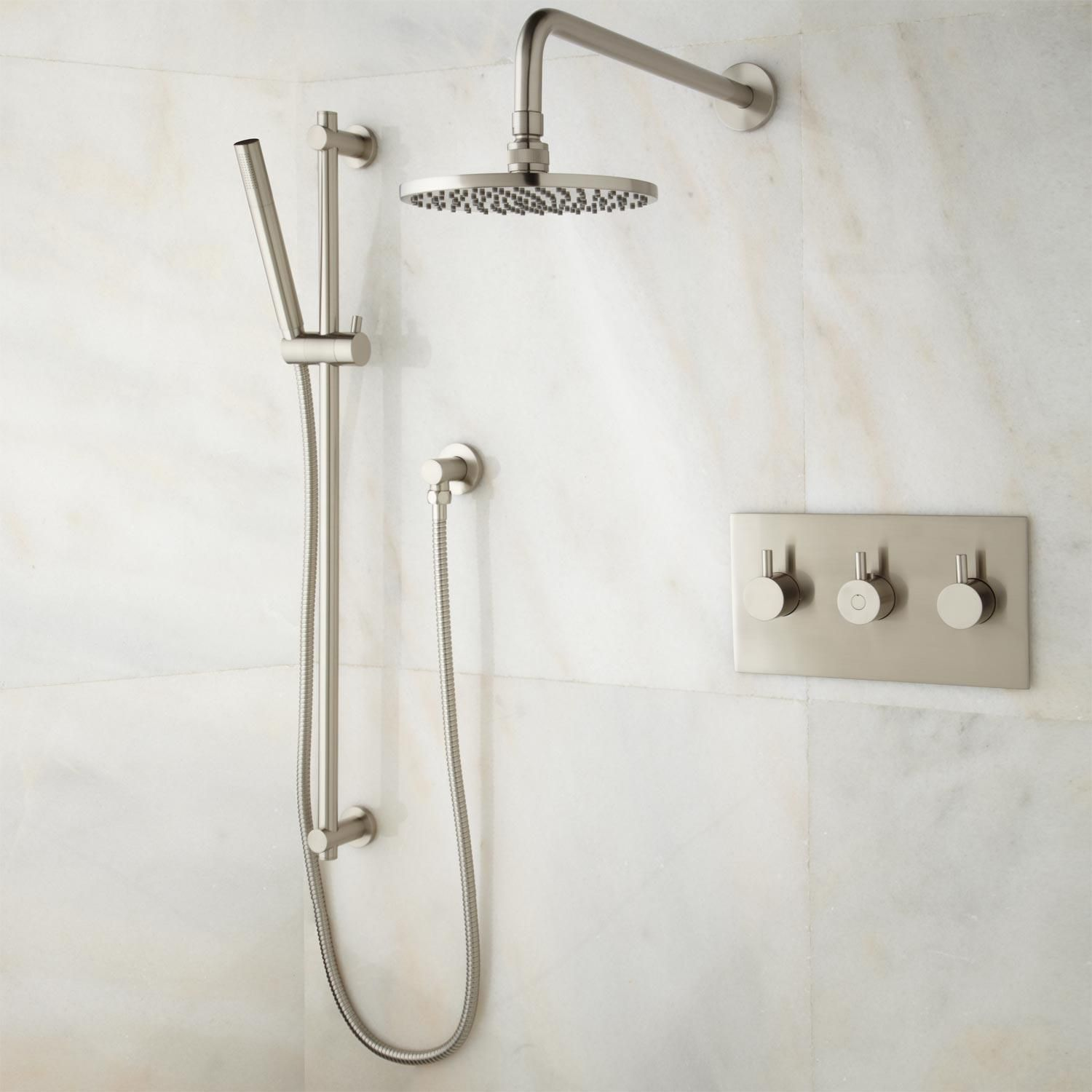 Tosca Thermostatic Shower System with Rainfall Shower and Hand ...