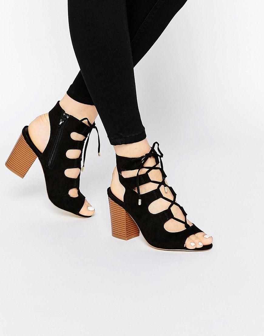 Look Wide Fit Lace Up Block Heel Sandal