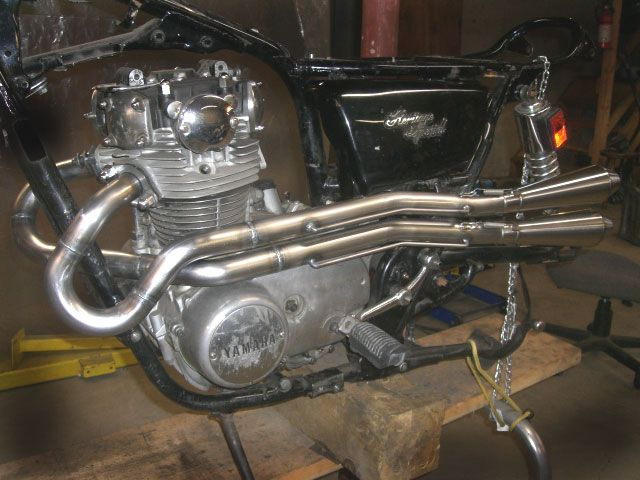 Hi-pipes with mufflers » GordonScott Engineering - XS650