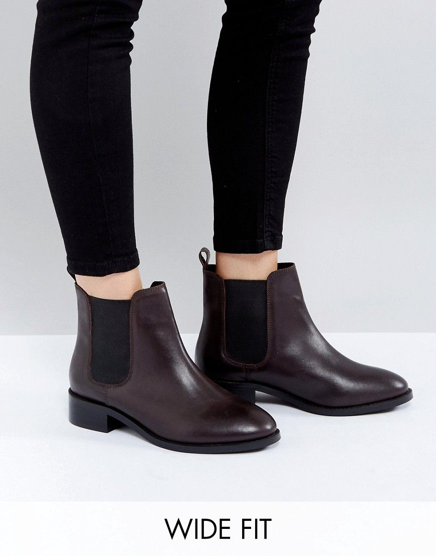 ASOS ABSOLUTE Wide Fit Leather Chelsea Ankle Boots 49VGUZCb