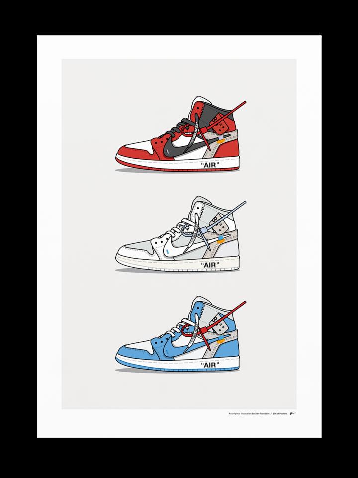 Triple Off White Jordan 1 Sneakers Wallpaper Nike Wallpaper
