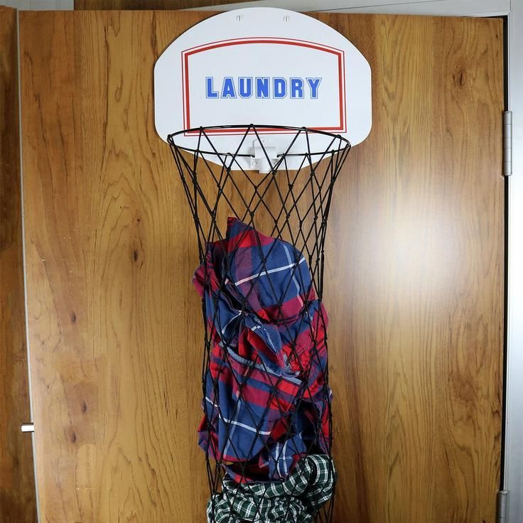 Door indoor laundry dunk basketball hoop basket for dirty clothes home pinterest clothes - Basketball hoop clothes hamper ...