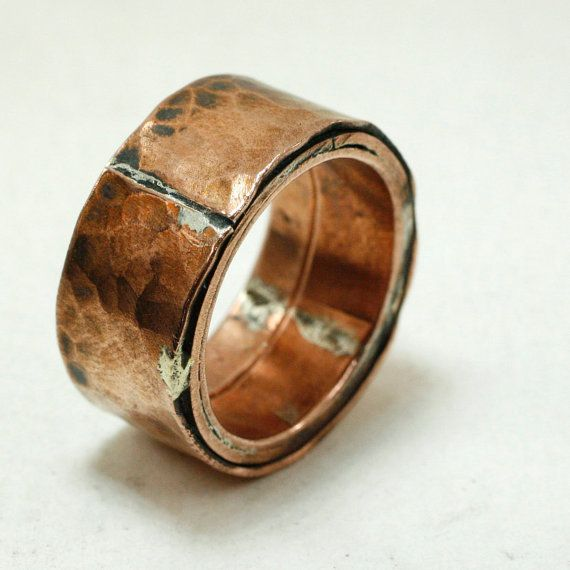 Etsy の Rustic Copper Secret Message Ring by mooredesign13