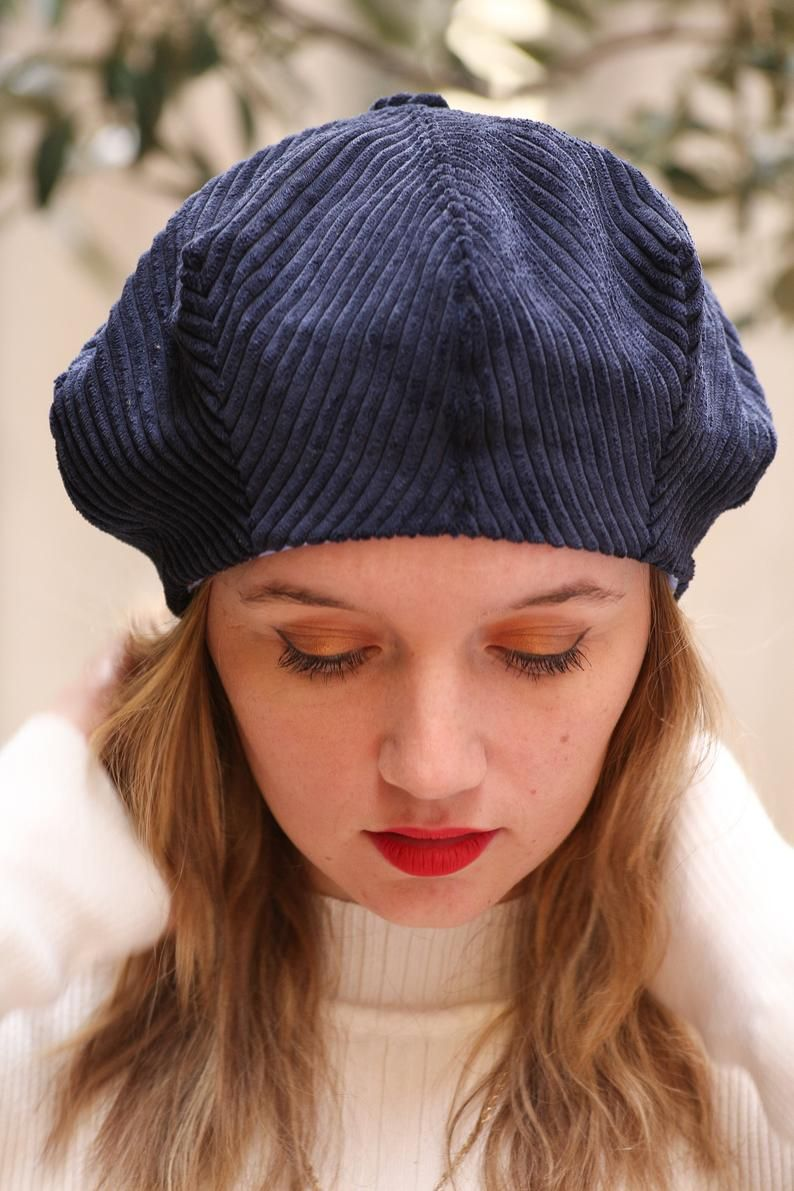 Navy Blue Corduroy Beret Hat For Women Slouchy French Beret Etsy Blue Corduroy Hats For Women Beret Hat