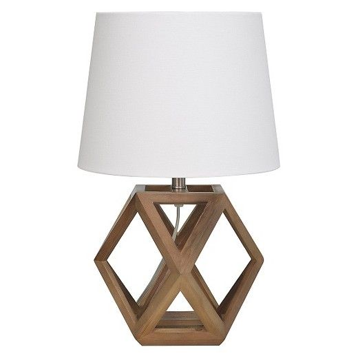 Geometric Wood Figural Accent Lamp Brown Threshold Table Lamp