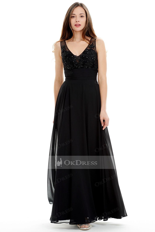Alineprincess black lace top long prom dress uk sale by okdress