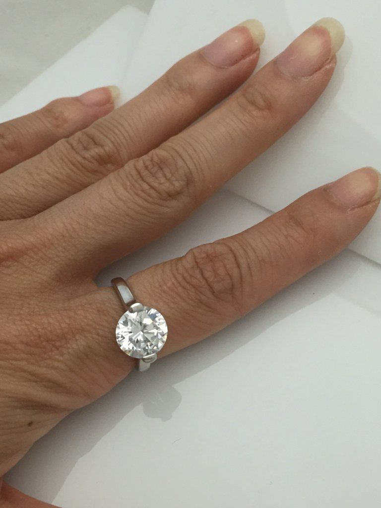 diamond 3 carat 10mm cz solitaire engagement ring