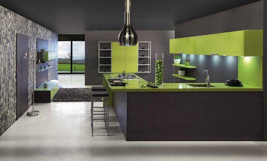"""Résultat de recherche d'images pour """"modern green kitchen"""""""