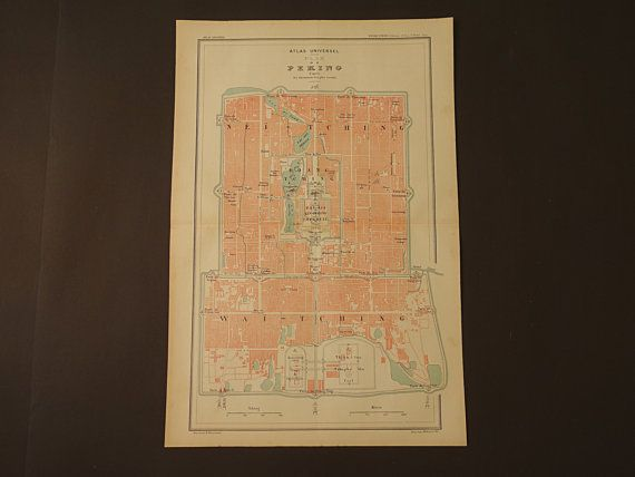 old BEIJING map   large 1896 old city plan of Beijing   Forbidden     old BEIJING map   large 1896 old city plan of Beijing   Forbidden city map    Peking original vintage poster   big French maps 12x19  big   Beijing