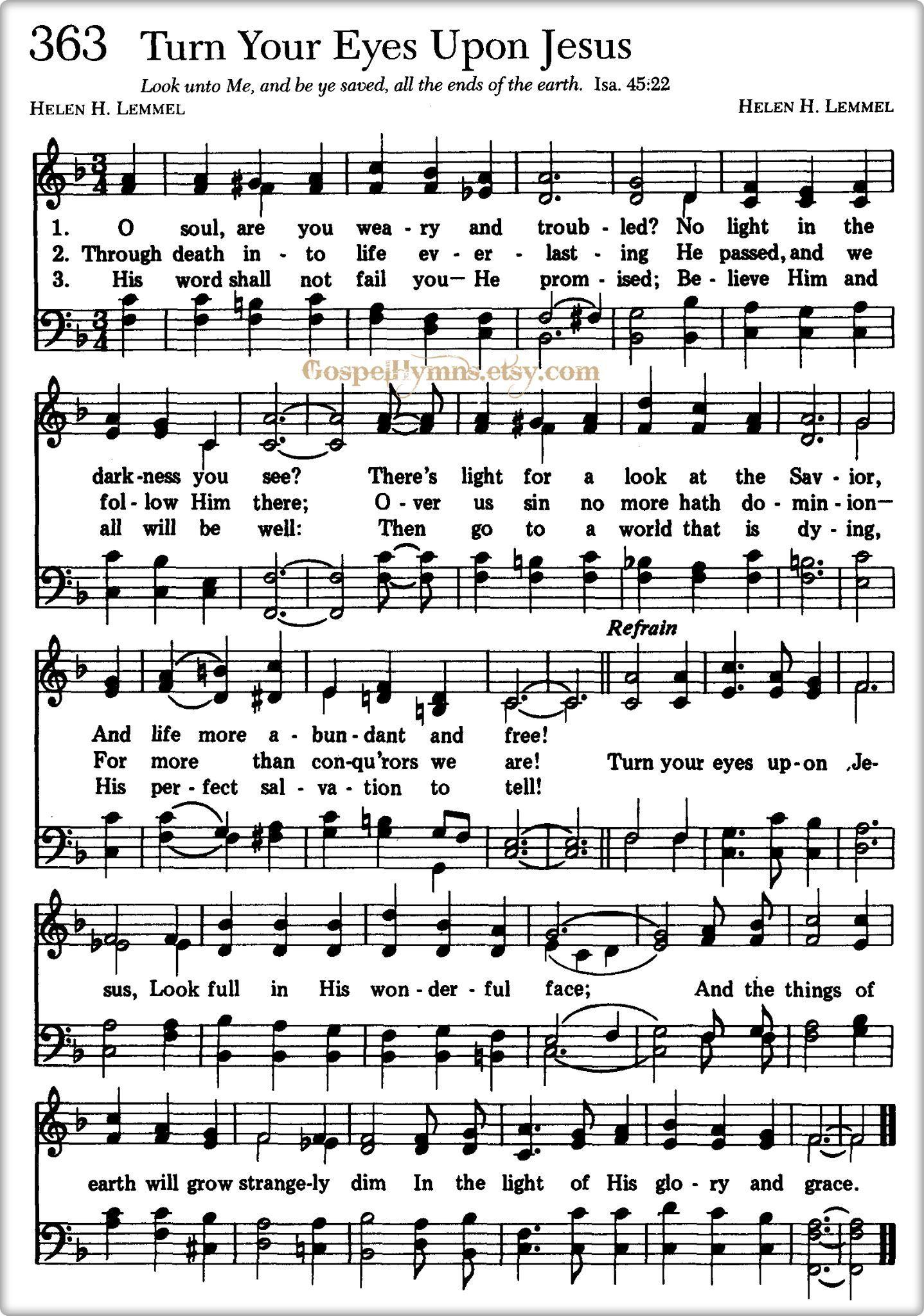 Lyrics to turn your eyes upon jesus