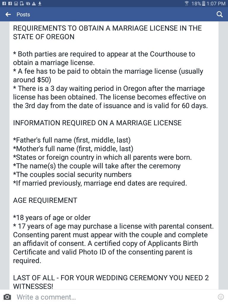 oregon marriage license state certificate
