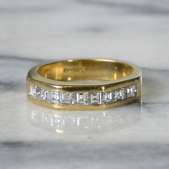 18ct Gold Diamond Ring Heavy Band Channel set with 9 ...