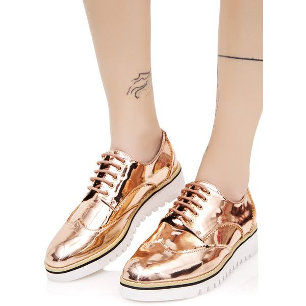 508b72df58c2 Rose Gold Oxford Flats ( 48) ❤ liked on Polyvore featuring shoes ...