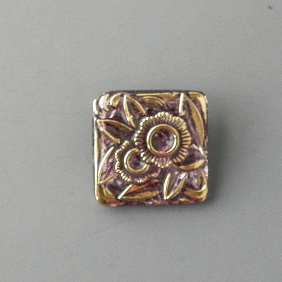 25mm Amethyst and Gold Square Czech Glass Button by SupplyEmporium
