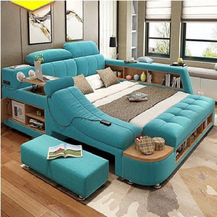 2018 AllinOne Leather Double Bed with Speakers Storage