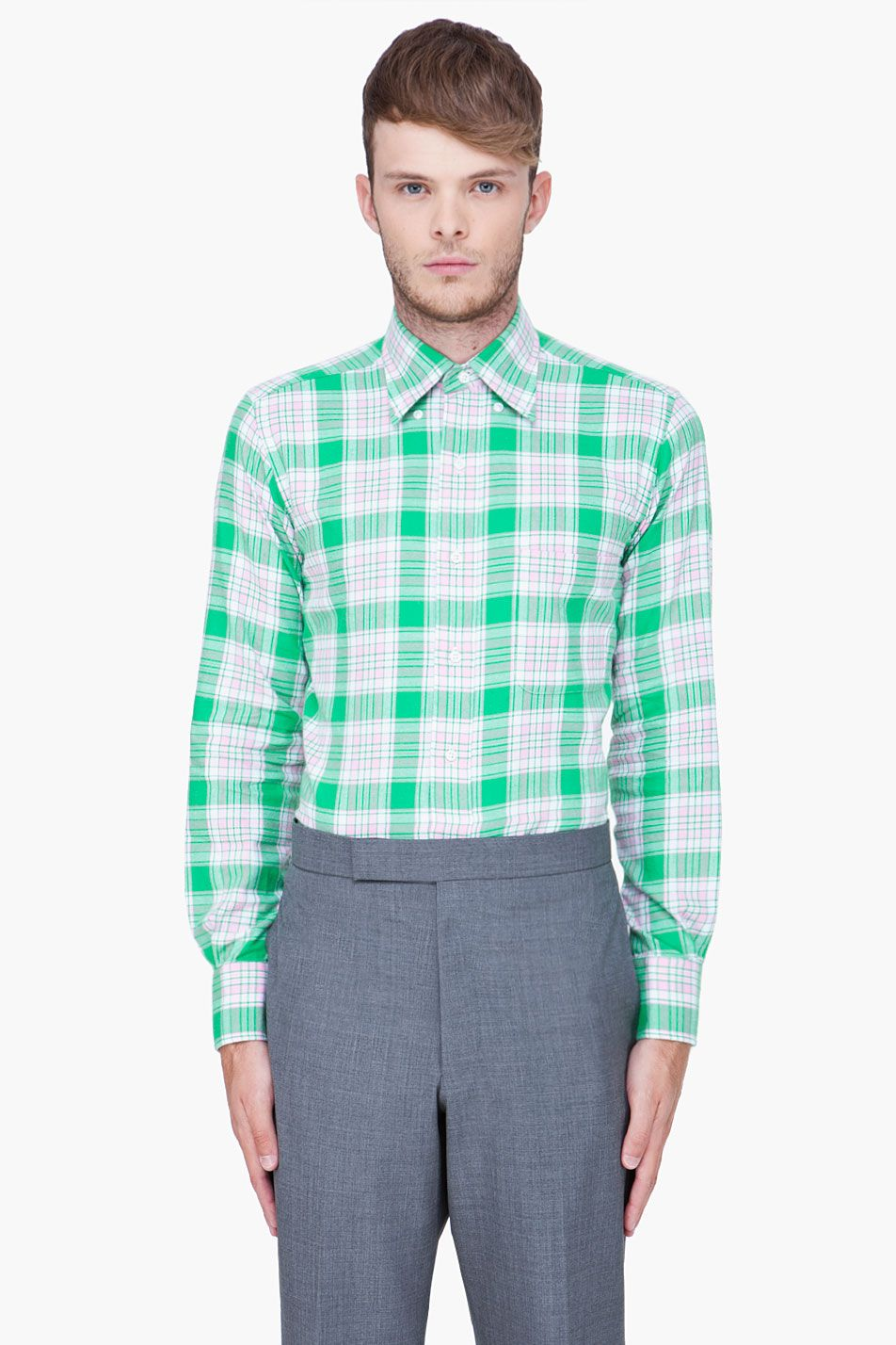Red flannel unbuttoned  THOM BROWNE Green Plaid Flannel Shirt  mens styles  Pinterest
