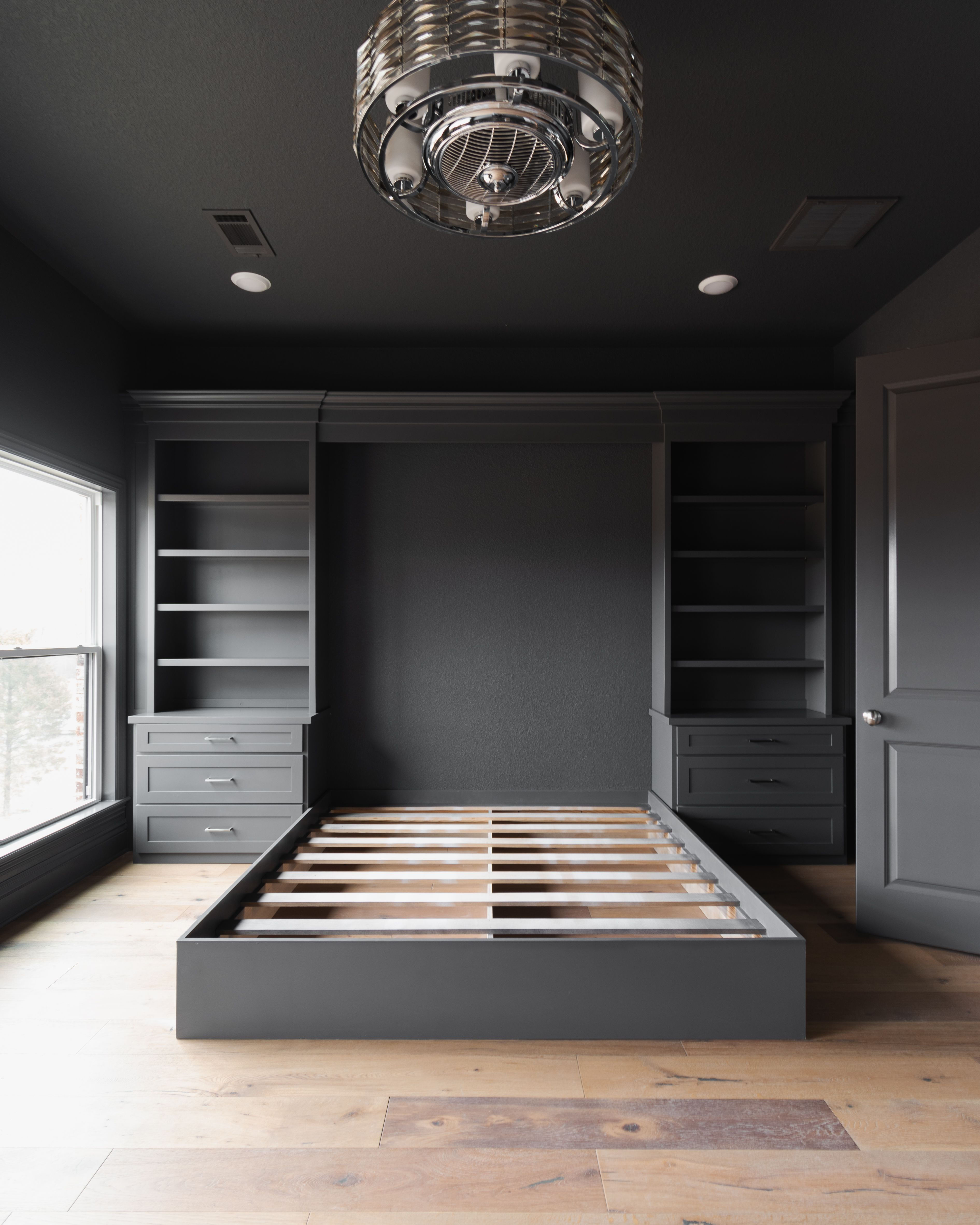 Stunning black painted master bedroom with custom built-in ...