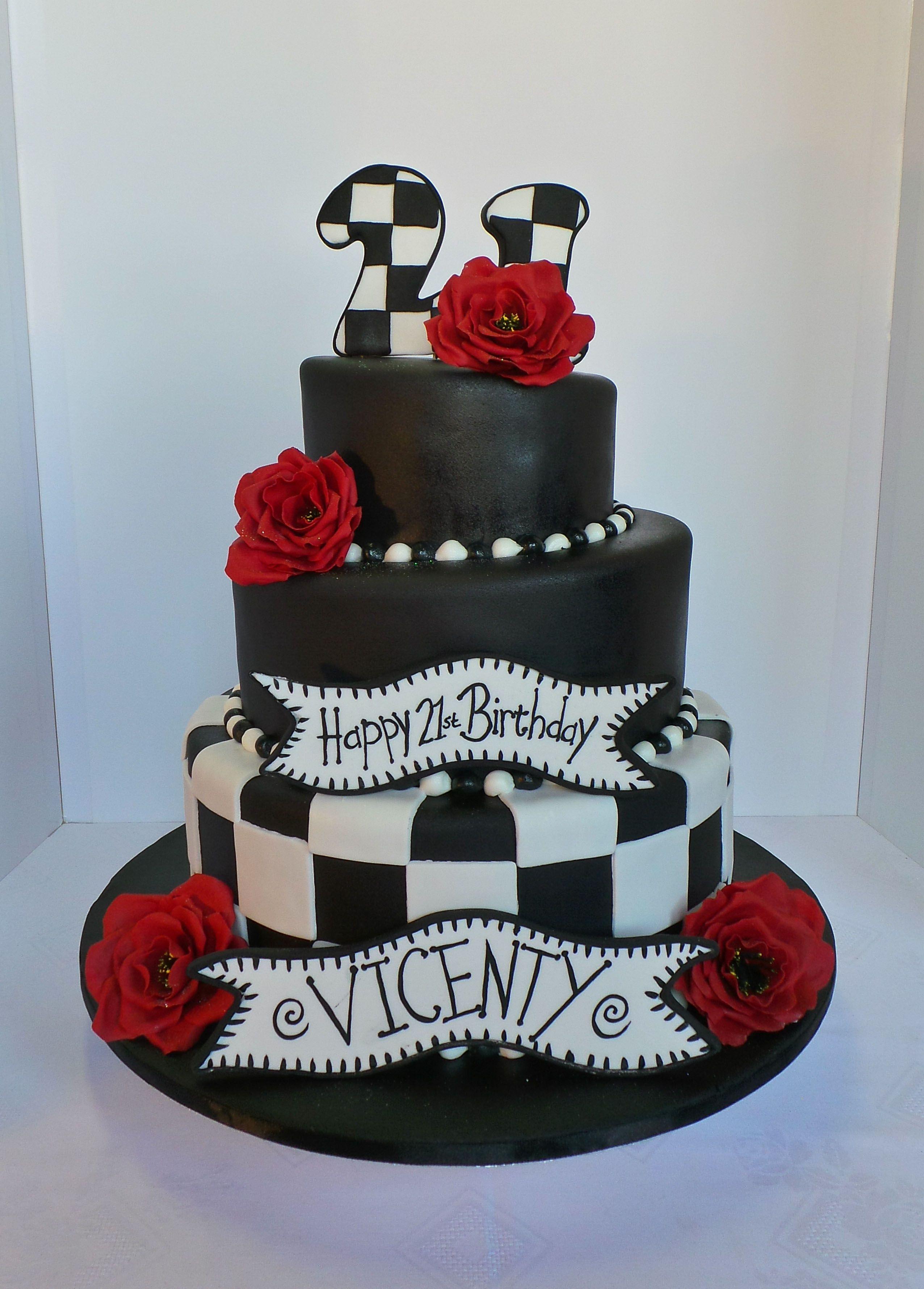 21st Black and White Birthday Cake. Cakefoto was brought