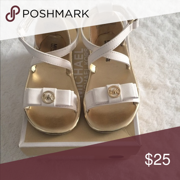 76dad5728e84 NEW Michael Kors Toddler Girl White Sandals  6 MICHAEL Michal Kors Toddler  Girl White Sandals Size  6 They are white with gold MK accents.