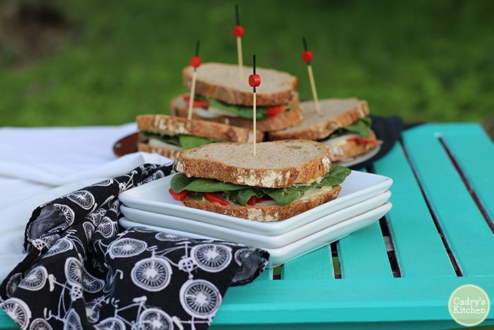 Photo of Picnic sandwich with jalapeño cashew cheese & raw vegetables