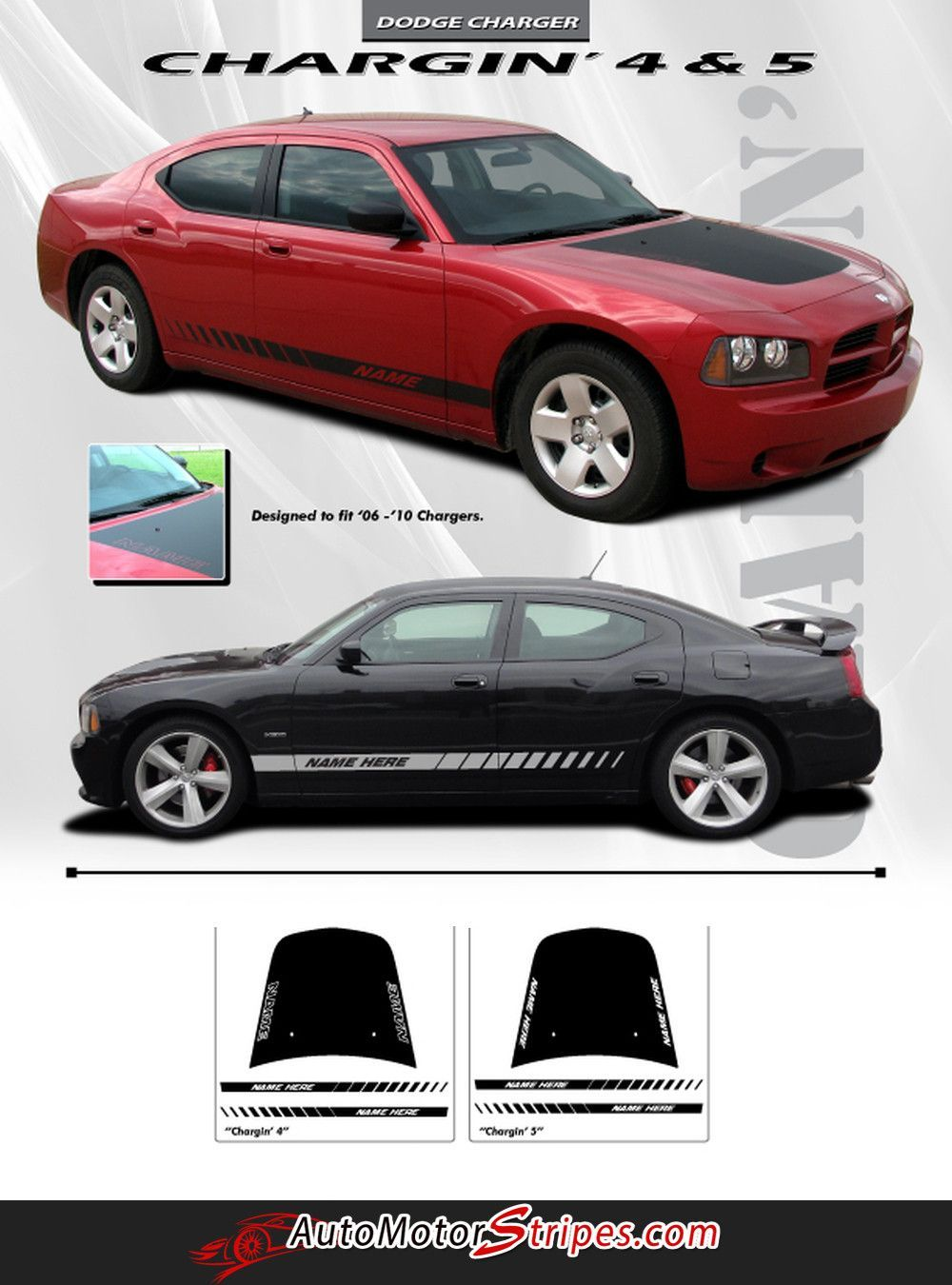2006 2010 dodge charger chargin 4 hood lower rocker strobe hemi daytona style vinyl stripes 3m decals kit dodge charger dodge and dodge dart