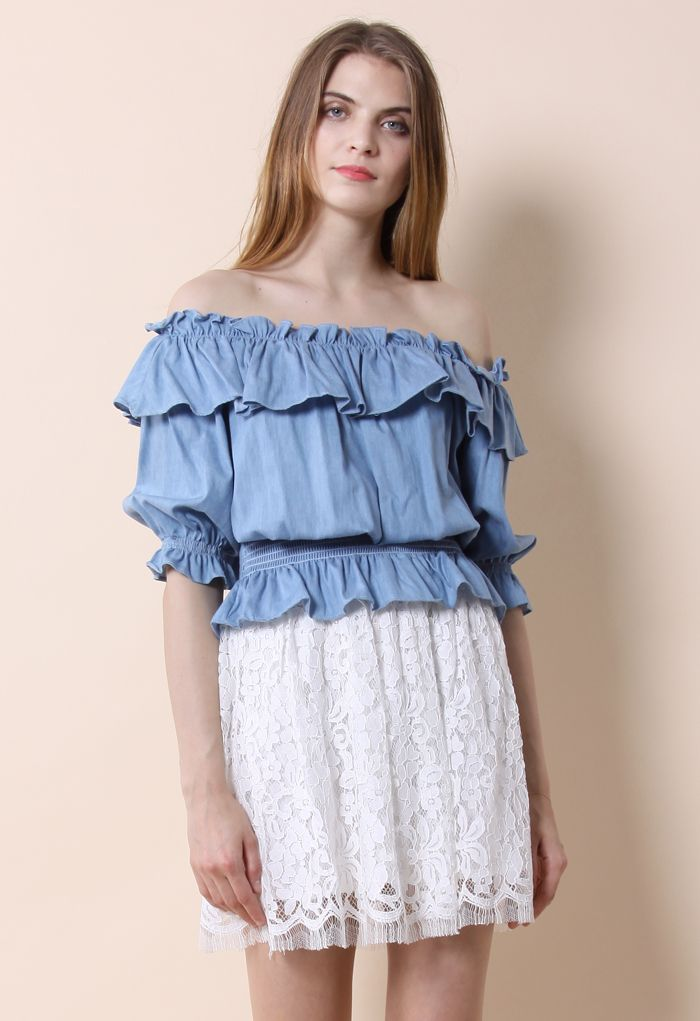 Ruffled Off-shoulder Top in Chambray - Tops - Retro, Indie and Unique Fashion