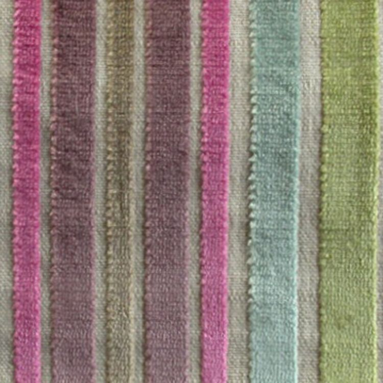 Striped Pink And Green Velvet Curtain And Upholstery Fabric Sea Poppies Petal Stripe From