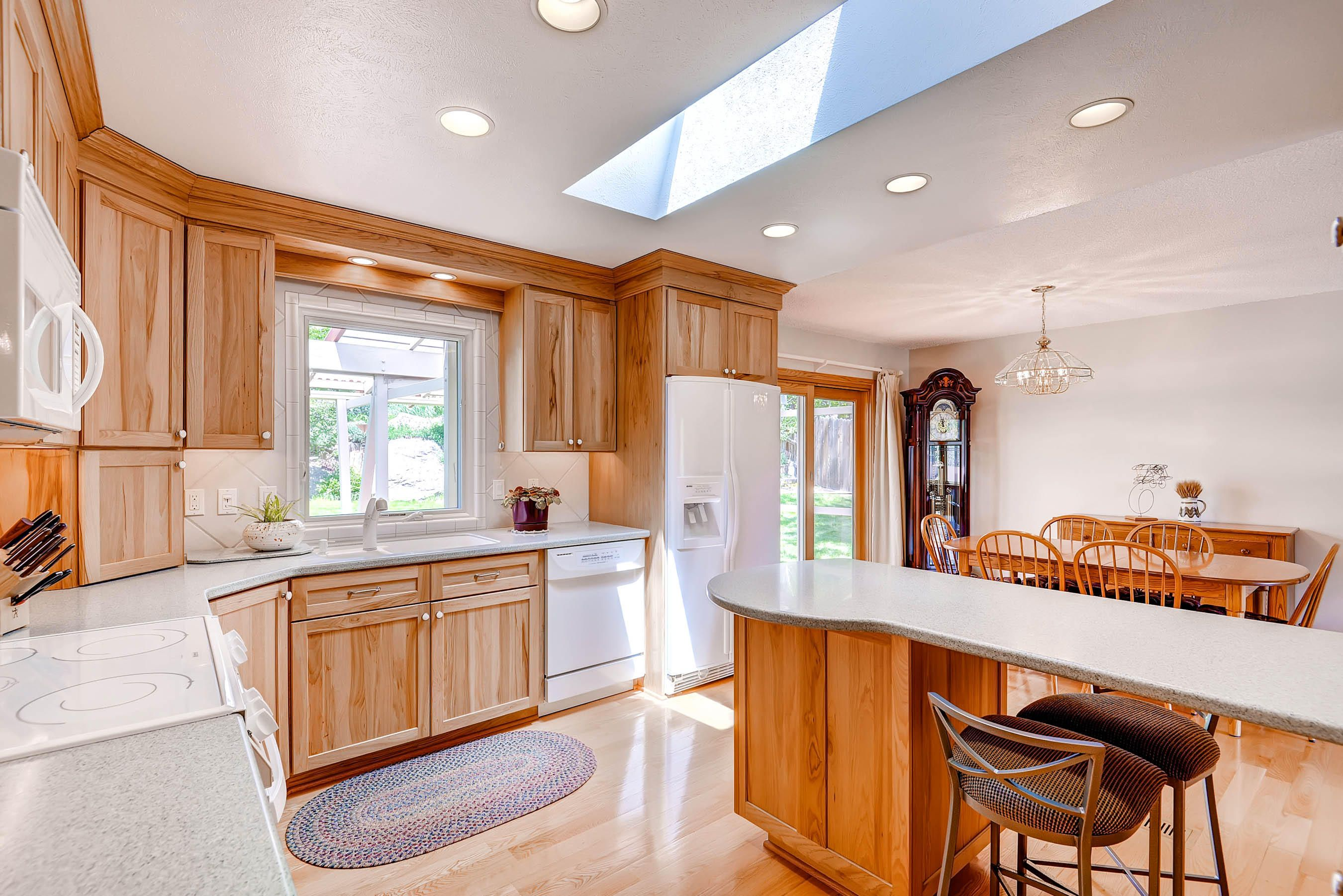 Updated Kitchen With Beautiful Custom Pecan Cabinets In