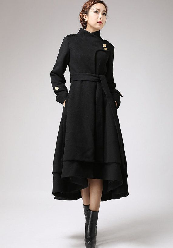 Black wool coat long winter dress coat with layered hem (703 ...