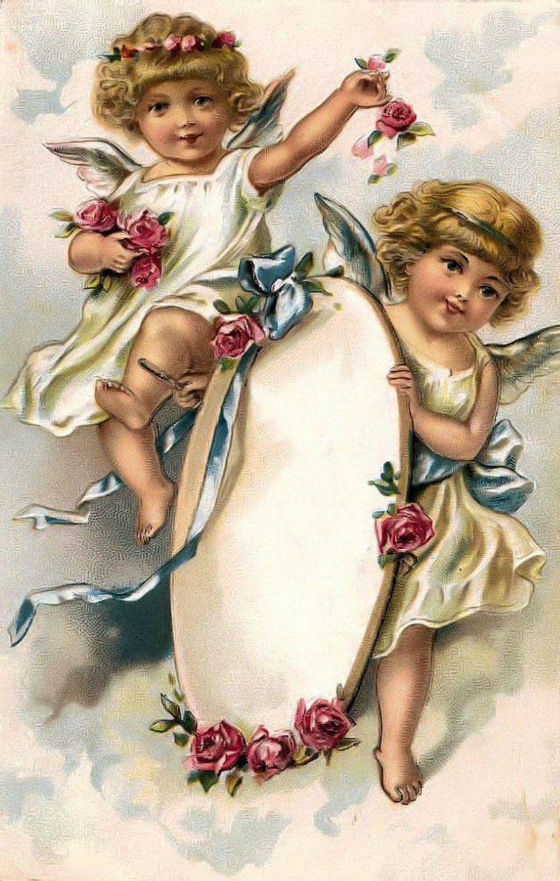 Целую, винтажные открытки с ангелом