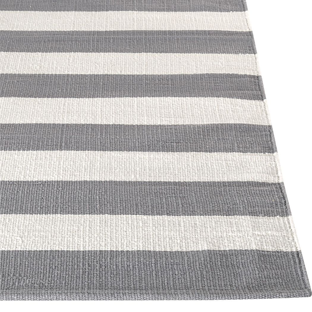 Shop Olin Grey Striped Cotton Dhurrie 8 X10 Rug Broad Bands Of Grey And Ivory Stretch Horizontally Across Crate And Barrel Rugs Grey And White Rug Grey Rugs
