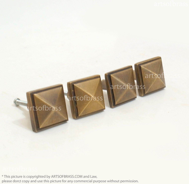 Vintage Solid Brass Retro Diamond Door Knobs Dresser Handle Pull N261 Byu2026