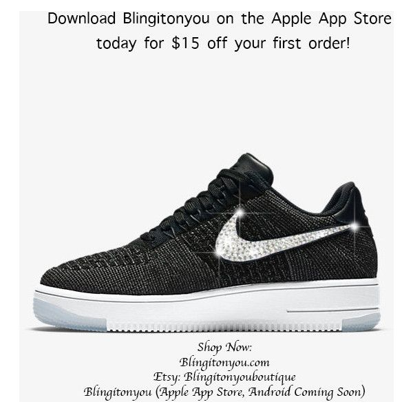 Women s Nike Air Force 1 Flyknit Low Top Bling Shoes Bedazzled With... ( 449c1a4e6