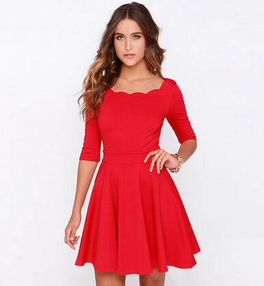 vestido de festa New Spring 2015 Winter Dress Red Mini Dresses ...