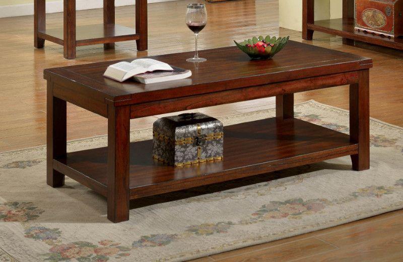 Cm4107c Estell Dark Cherry Finish Wood Coffee Table In 2020