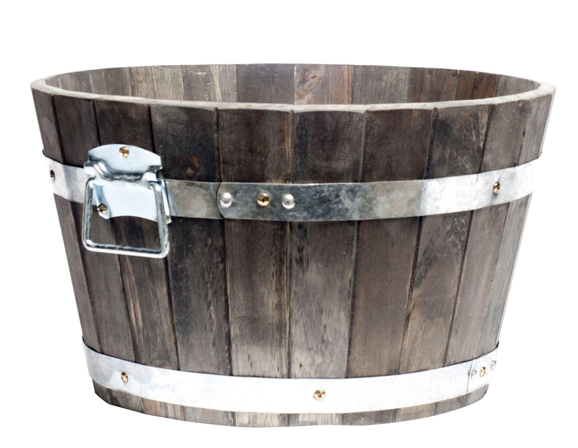 Cadix Acacia Round Planter Reviews Wayfair Uk Barrel Planter Buy Plant Pots Wooden Barrel