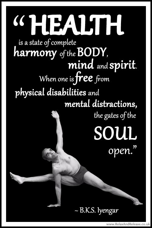 "BKS Iyengar Yoga Quote: ""Health is a state of complete harmony of the body, mind and spirit. When one is free from physical disabilities and mental distractions, the gates of the soul open."" .... #BKSIyengar #Inspirational #LifeQuote #YogaBenefits #YogaForAll #quoteoftheday #yogaquote"
