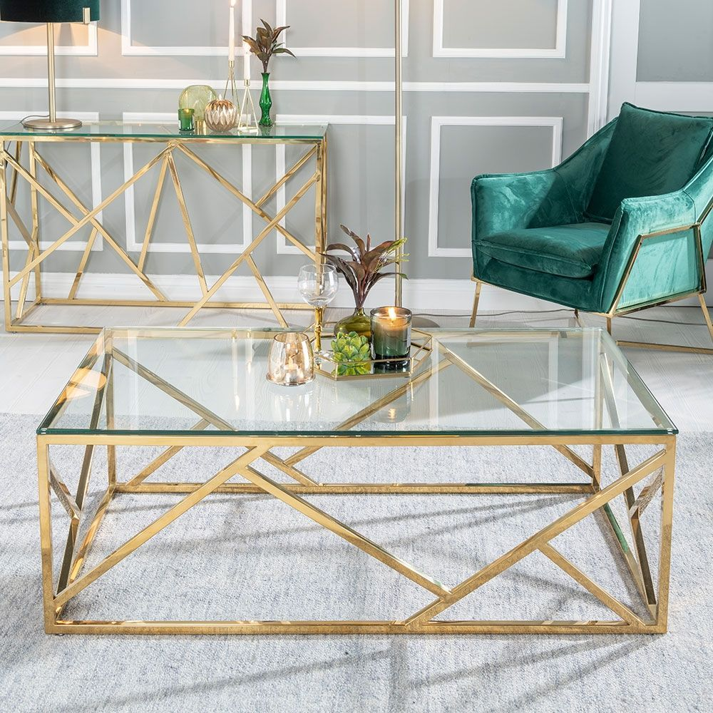 Urban Deco Maze Coffee Table Glass And Stainless Steel Gold In 2020 Coffee Table Decor Living Room Table Decor Living Room Glass Table Living Room
