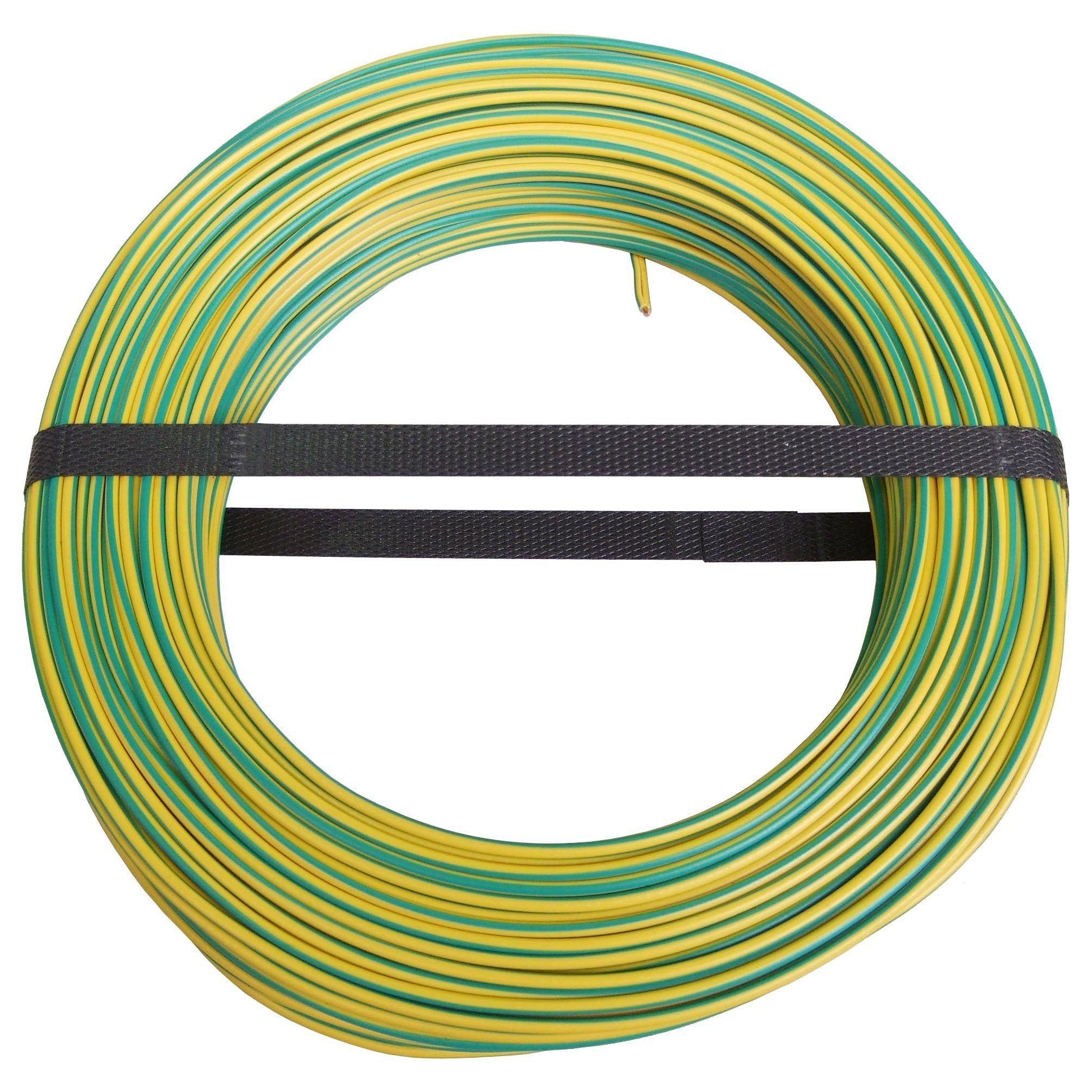 Fil Electrique H07vu Vert Jaune 1 5 Mm L 100 M Vert Jaune Vert Et Fil Electrique