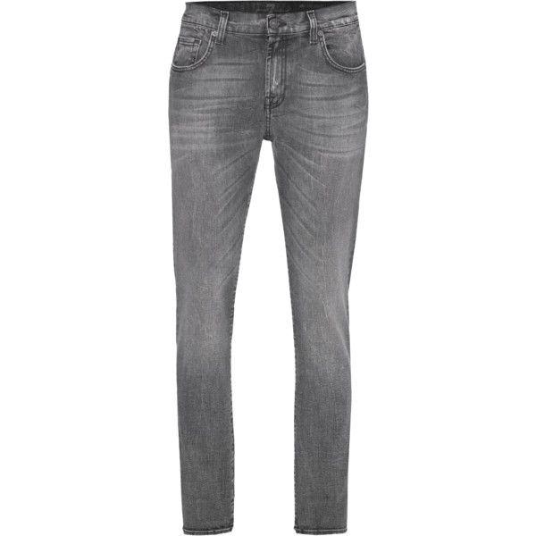 7 FOR ALL MANKIND The Relaxed Skinny Ash Gray // Boyfriend jeans in... (€199) ❤ liked on Polyvore featuring jeans, distressed boyfriend jeans, skinny jeans, boyfriend jeans, destroyed boyfriend jeans and grey boyfriend jeans
