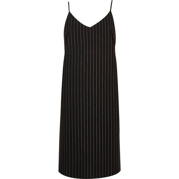 River Island Navy pinstripe cami dress (590 ARS) ❤ liked on Polyvore featuring dresses, camisole slip dress, strappy cami, navy camisole, navy blue cami and strappy dress