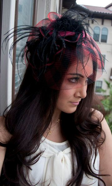 Sofia Red and Black English Couture Fascinator Hat