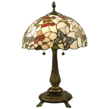 Jcpenney Dale Tiffany Stained Glass Butterfly Table Lamp Art